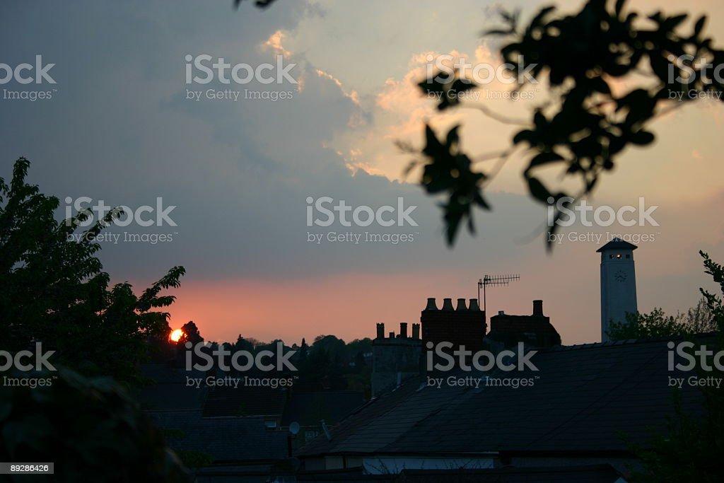 sun setting over newport gwent silhouette stock photo