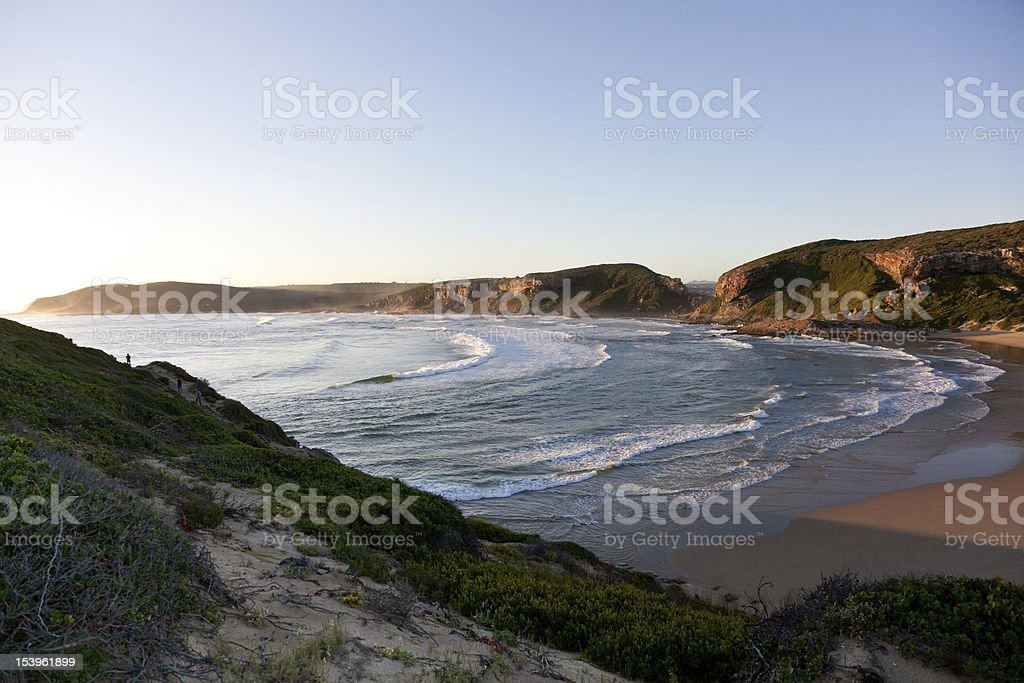 Sun setting over Robberg, Plettenberg Bay, South Africa stock photo