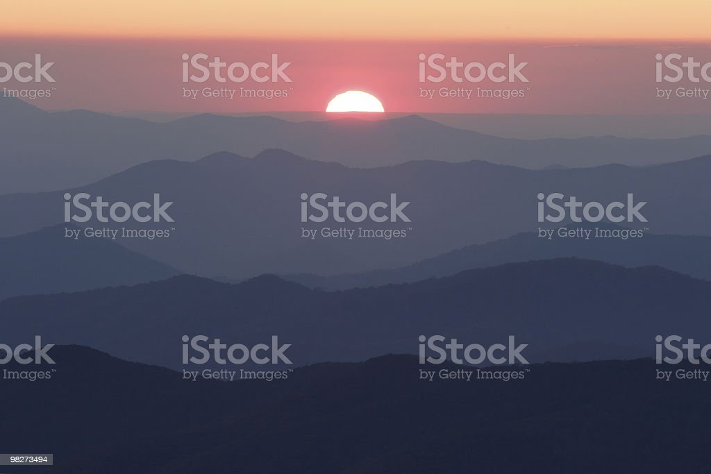 Sun Setting over Smoky Mountain Ridges royalty-free stock photo