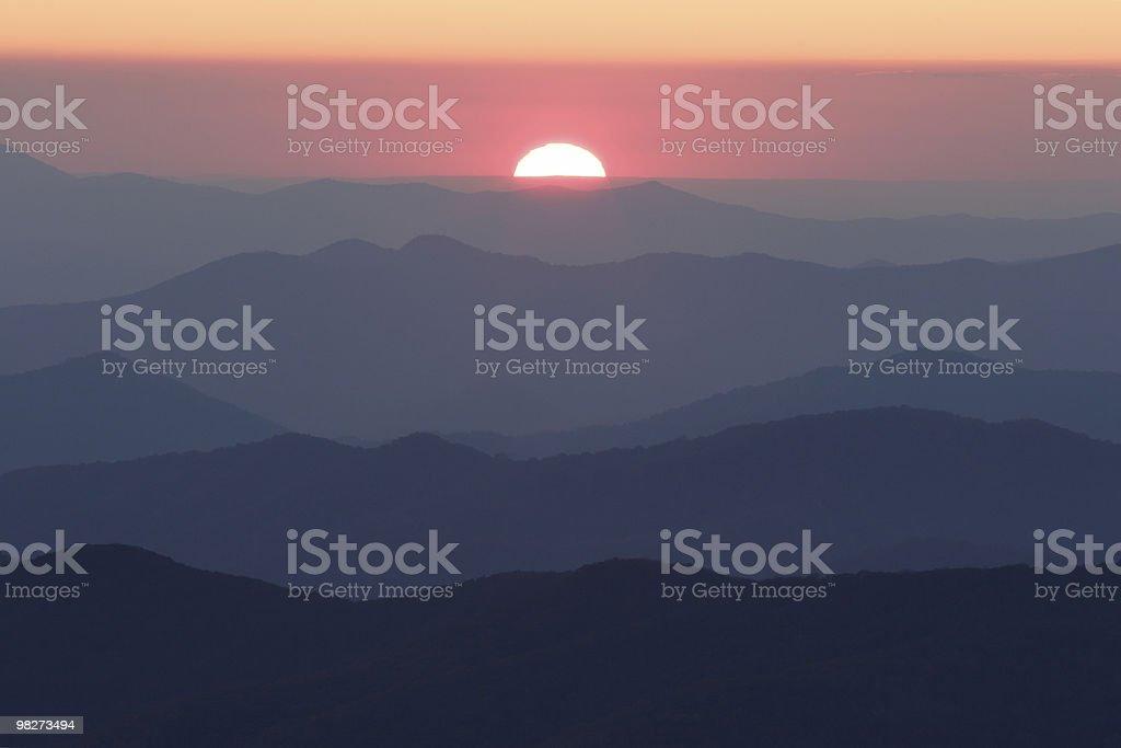 Sun Setting over Smoky Mountain Ridges stock photo