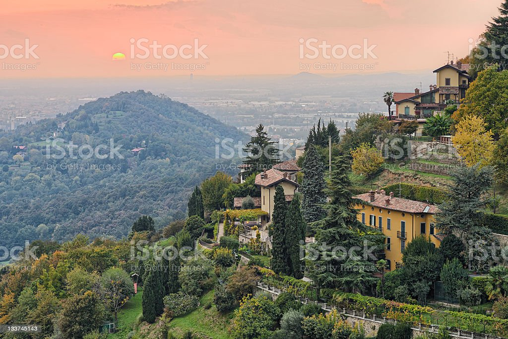 Sun setting over the countryside outside Bergamo, Lombardy, Italy, Europe stock photo