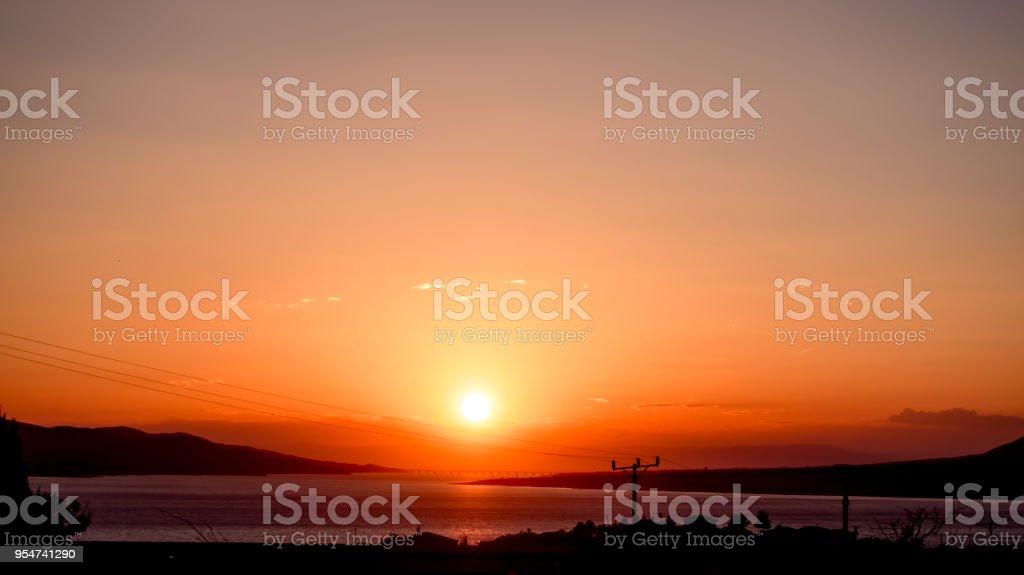 sun setting over the river, Elazig TURKEY stock photo