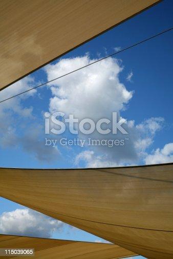 Sun shade sails errected for protection against the harsh australian sun for cars in a car park