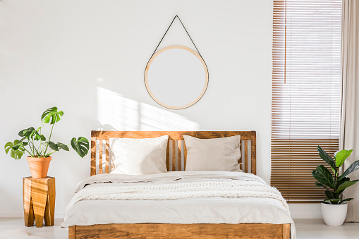 Sun shining on a white wall with a round mirror in a minimalist bedroom interior with natural, wooden furniture and beautiful green plants