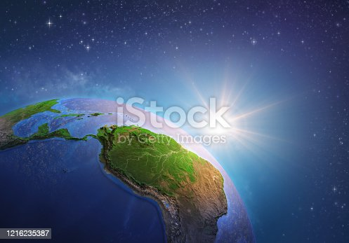 Surface of the Planet Earth viewed from a satellite, focused on South America and Amazon rainforest, sun rising on the horizon. Physical map of Amazonia. 3D illustration (Blender software) - Elements of this image furnished by NASA (https://eoimages.gsfc.nasa.gov/images/imagerecords/73000/73776/world.topo.bathy.200408.3x5400x2700.jpg).
