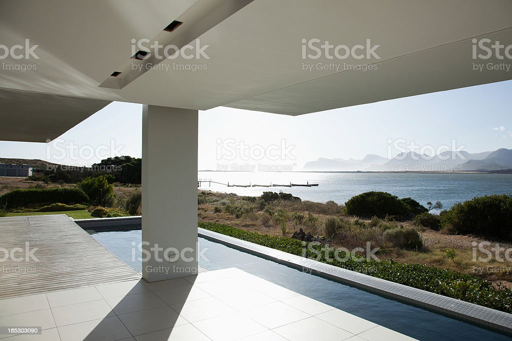 Sun shining over lake and modern house royalty-free stock photo