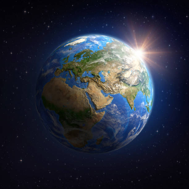 le soleil brille sur la terre de l'espace - planete terre photos et images de collection