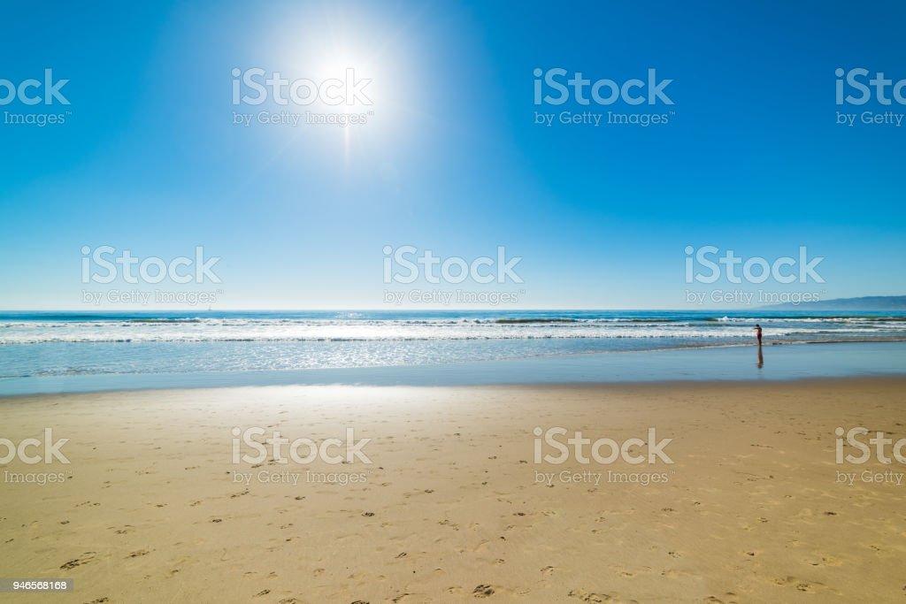 Sun shining over Venice beach stock photo