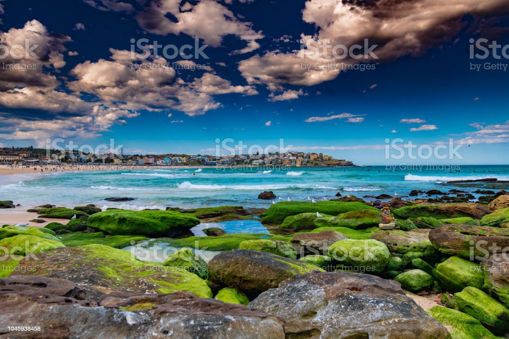 Ducha de sol en la playa de Bondi foto de stock libre de derechos