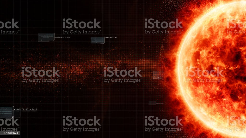 HUD Sun Solar Flare Particles coronal mass ejections stock photo