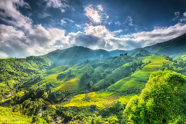 Sun star above the beautiful highland Sapa Sun star above the beautiful highland Sapa with its rays to the valley with terraces around the hill look impressive catalonia stock pictures, royalty-free photos & images