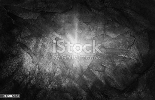 istock Sun star black watercolor hand-drawn background for text design, web. Abstract brush painting paper grain texture illustration element for web wallpaper 914382164