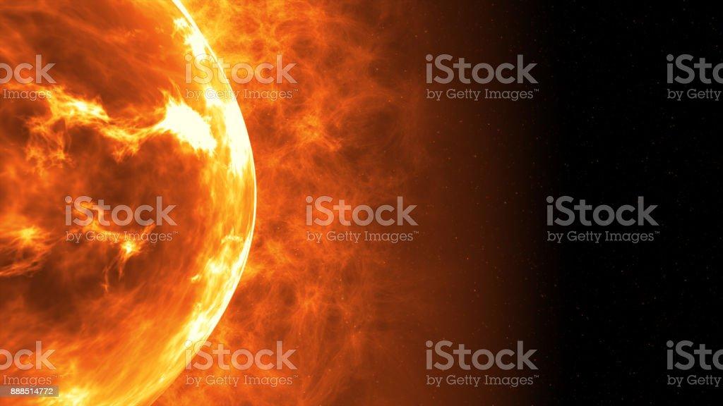 Superficie del sol con las llamaradas solares. Antecedentes científicos. Ilustración 3D - foto de stock