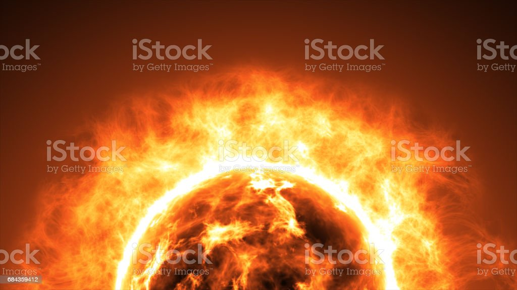 Sun surface with solar flares. Abstract scientific background stock photo