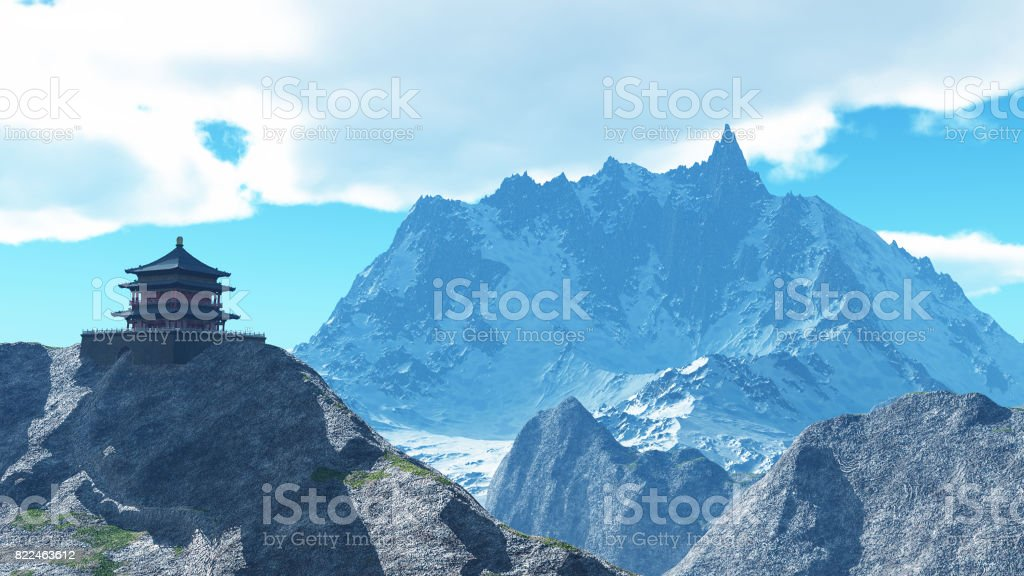 Sun temple - Buddhist shrine in the Himalayas 3d rendering stock photo