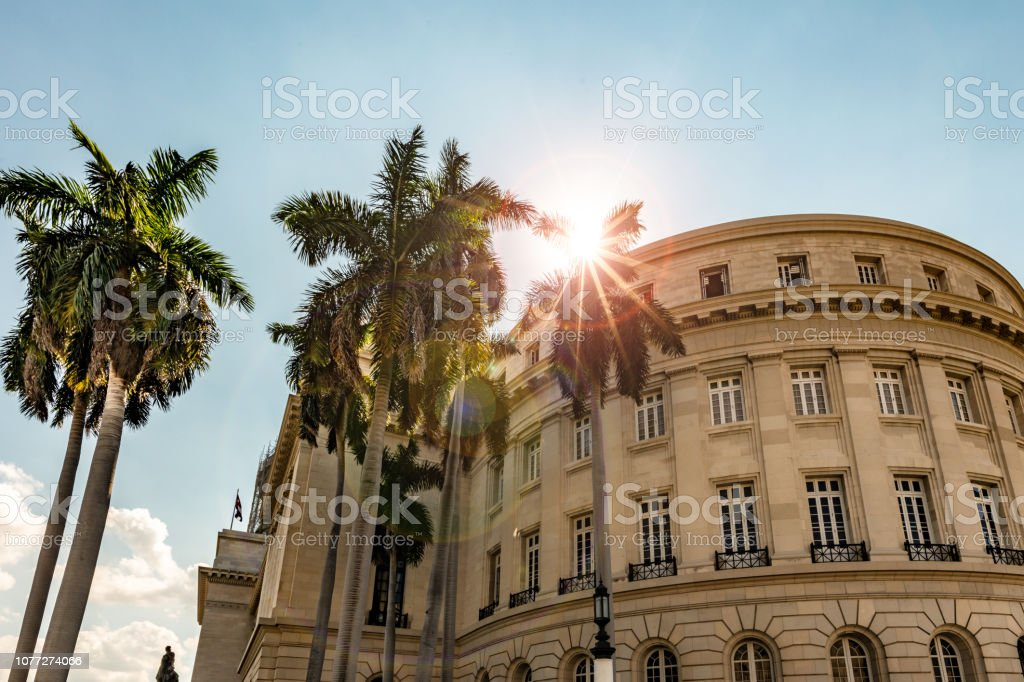 Sun through palm trees by the Great Theatre of Havana stock photo
