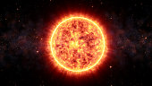 Sun Virtual Realistic Glowing Bright In Nebula Cloud And Stars Surrounded. Solar Flare Burning Around Astrological Celestial At Galaxy Concept Illustration Background Design.