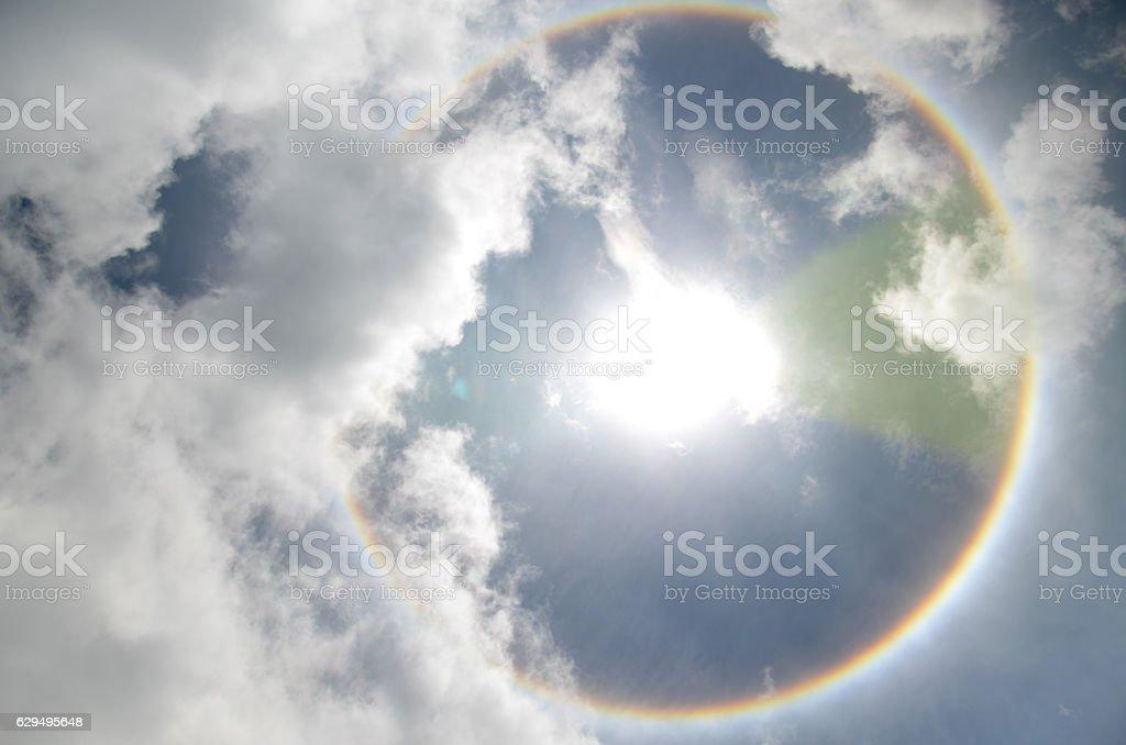 Sun with circular rainbow  sun halo occurring due crystal stock photo