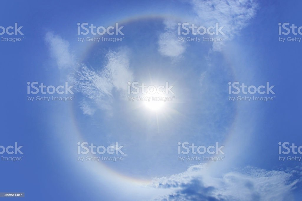 Sun with circular rainbow,Super size stock photo