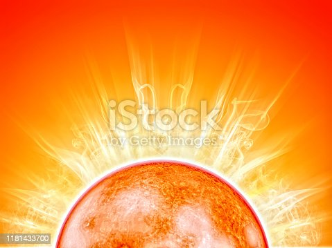 sun with flames on orange background