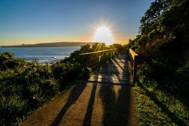Sun_through_wooden_bridge_shadows_morning stock photo