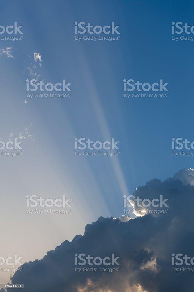 Sunbaem and beautiful clouds stock photo