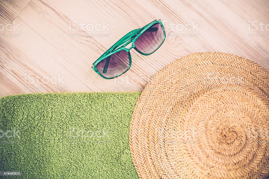 Sunbathing accessories stock photo