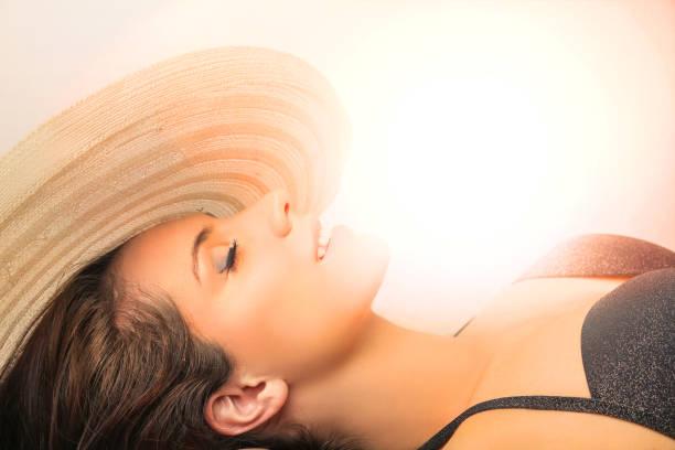 Sunbathing beauty stock photo