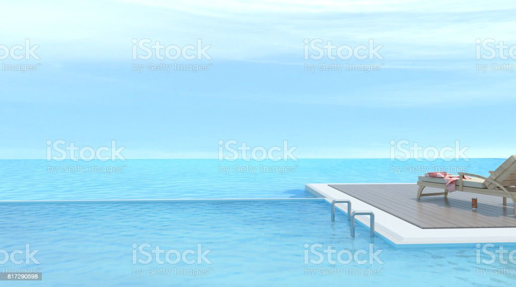 Sunbathing deck and Wood sofa with swimming pool and sea 3d rendering Vacation time stock photo