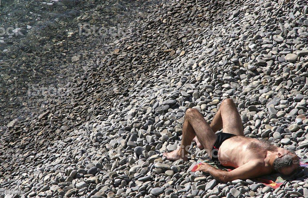 Sunbathing on rocks royalty-free stock photo