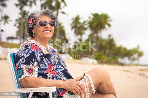 Summer, Beach, Retirement, Senior Women, Sitting