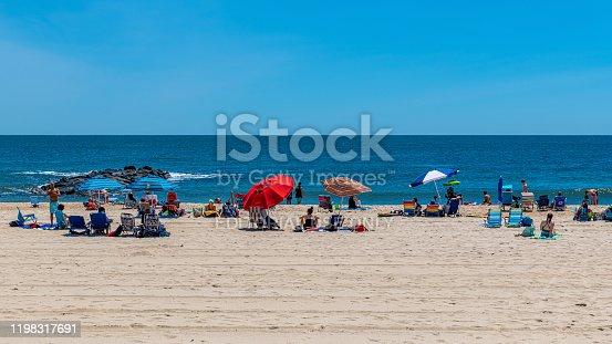 Spring Lake, NJ, USA - June 22, 2019 -  People enjoy a beautiful beach day in Spring Lake New Jersey.