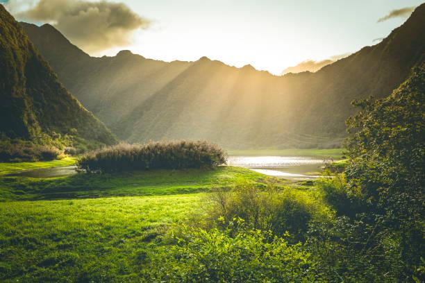 Sonnenstrahl am Grand Etang-See auf der Insel La Réunion, Maskarenen – Foto