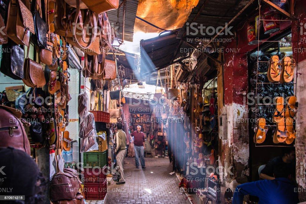 Sunbeam at the souk stock photo