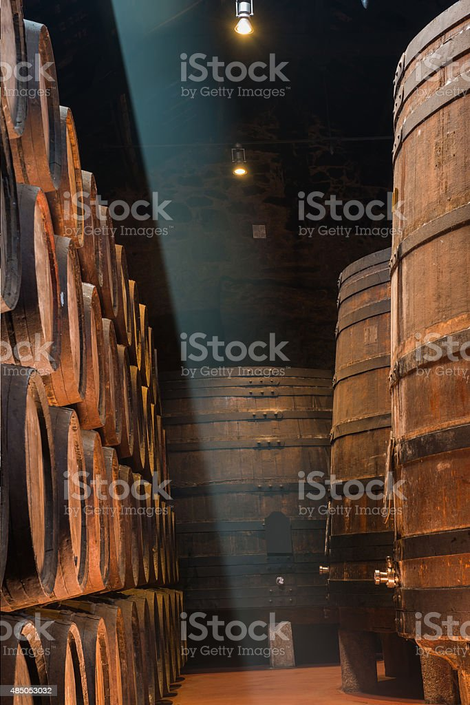 Sunbeam in the wine cellar stock photo