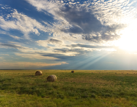 Sunbeam Light Rays Shining Down On Country Landscape Stock Photo - Download Image Now