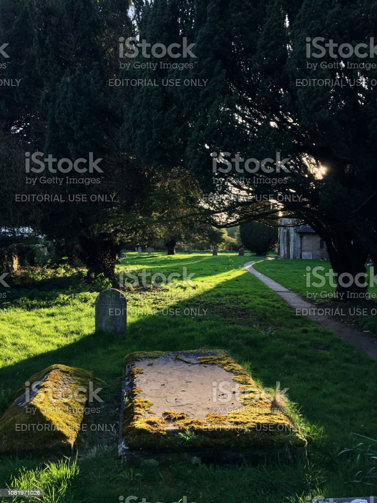 sunbeam on a gravestone in the old English cemetery stock photo