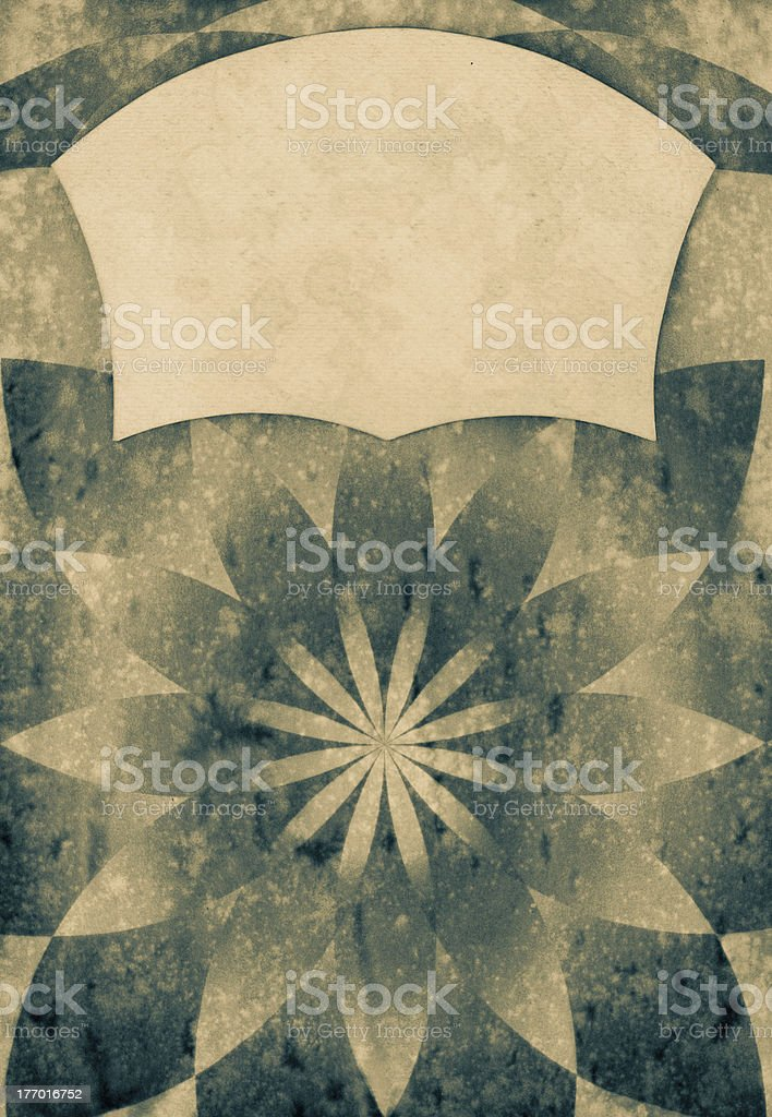 Sunbeam retro paper background with grunge frame for text royalty-free stock photo