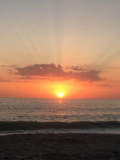Sunbeam Sunset stock photo
