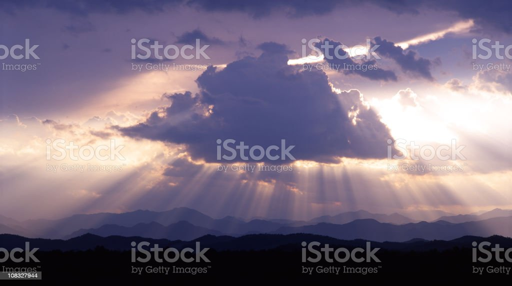 Sunbeam through the clouds royalty-free stock photo