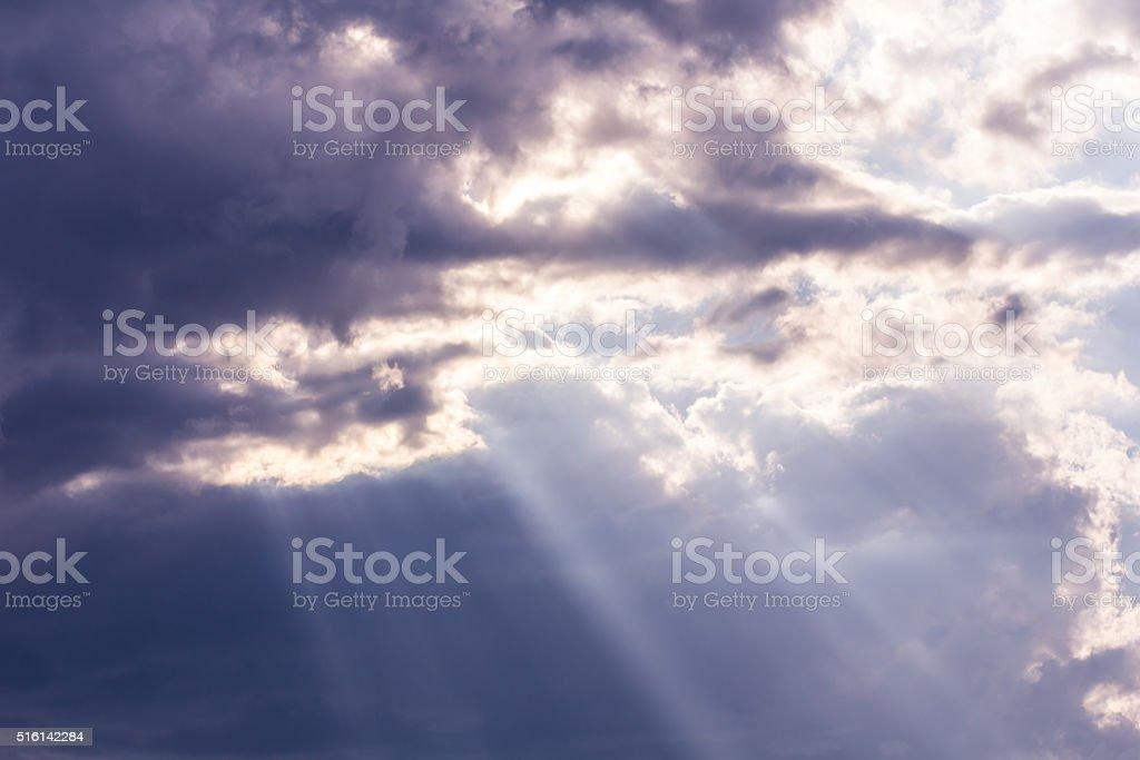 Sunbeam through the haze on blue sky, clud with sunlight stock photo