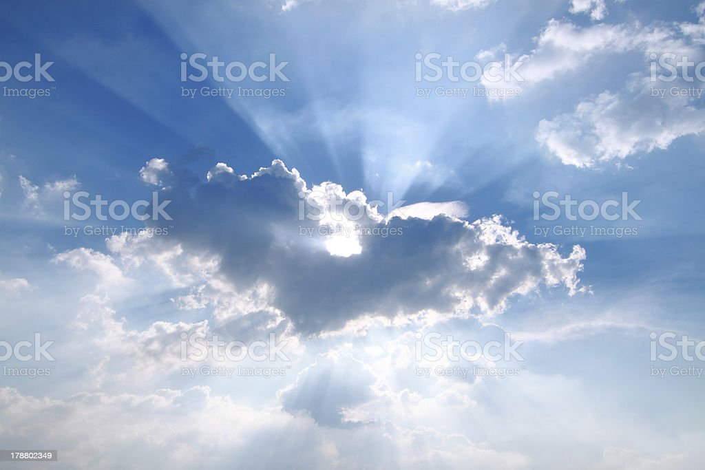 Sunbeam  through the haze on blue sky royalty-free stock photo