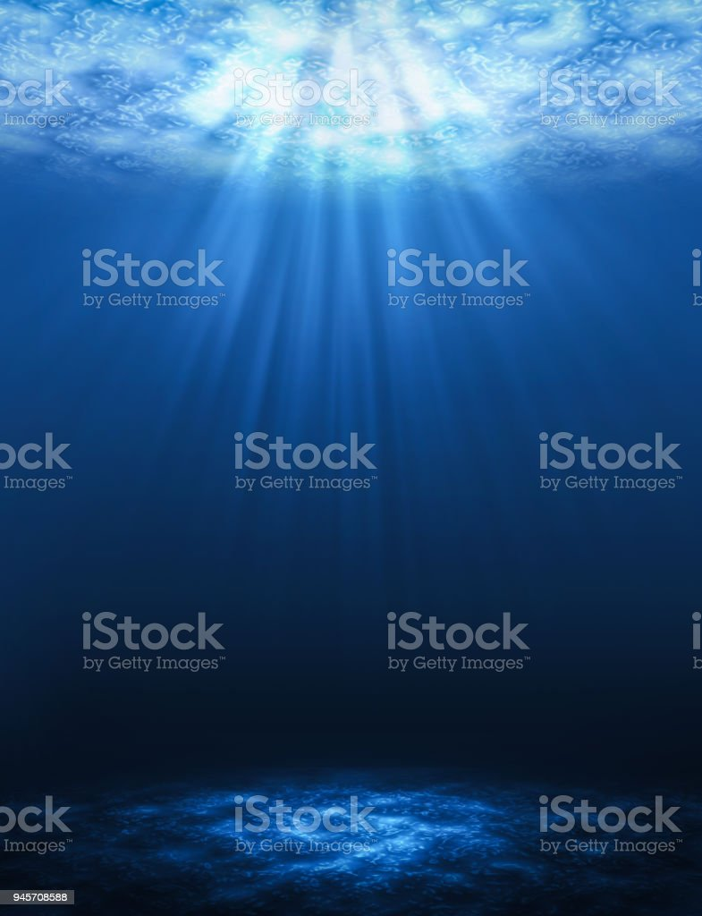 Sunbeam vertical Abstract underwater backgrounds in the sea. stock photo