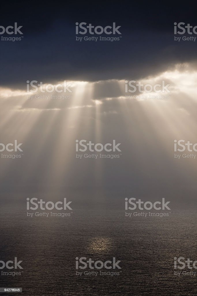 Sunbeams after rain royalty-free stock photo