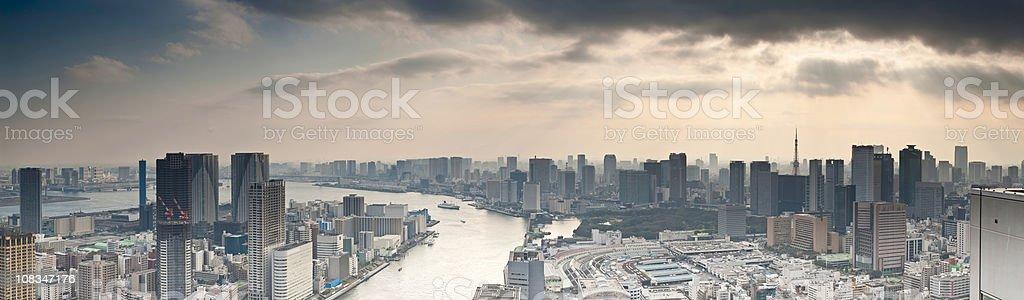 Sunbeams and skyscrapers Sumida-gawa Tokyo Bay downtown waterfront panorama Japan stock photo