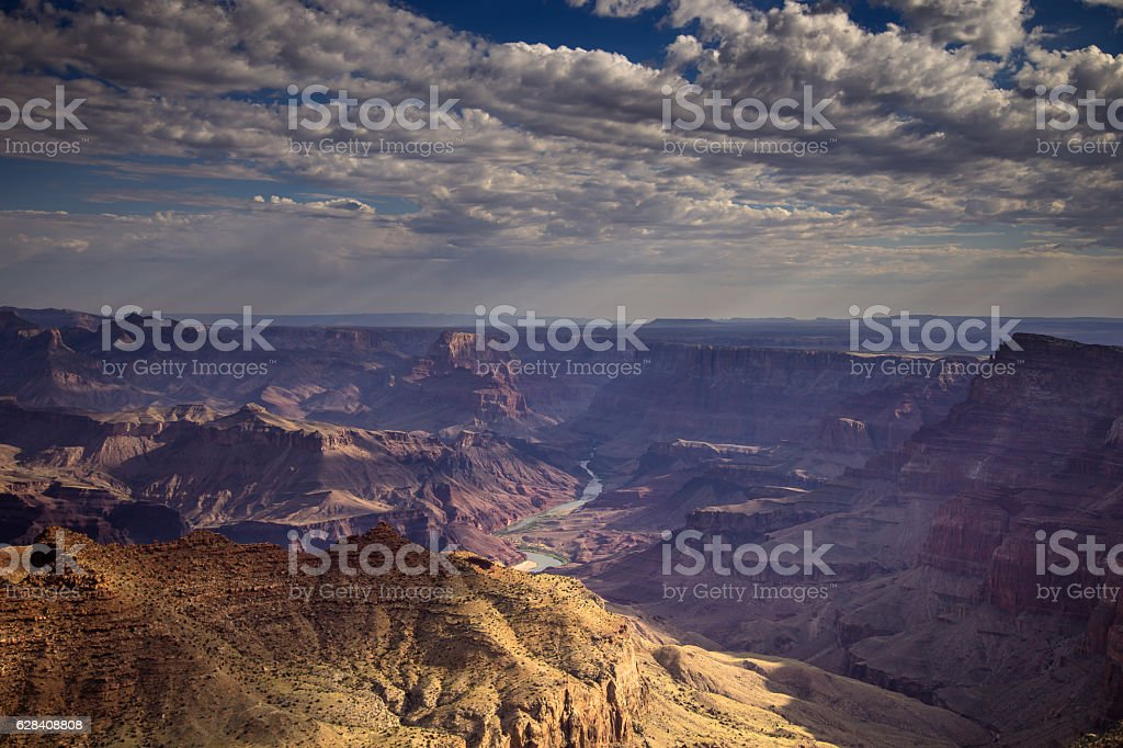 Sunbeams in the Grand Canyon stock photo