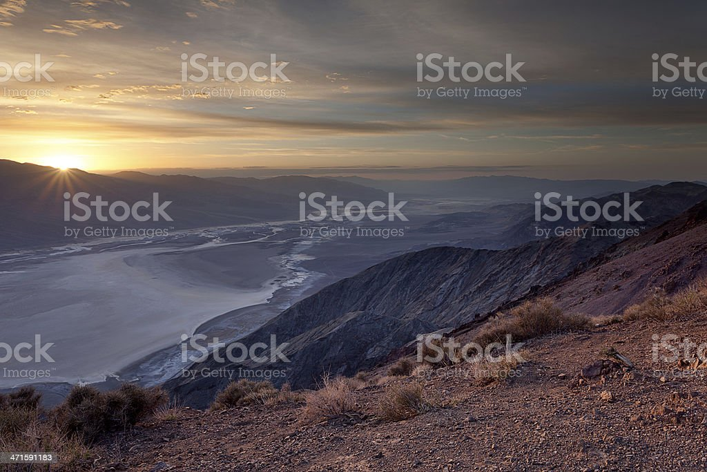 Sunbeams over Badwater Basin, Death Valley royalty-free stock photo