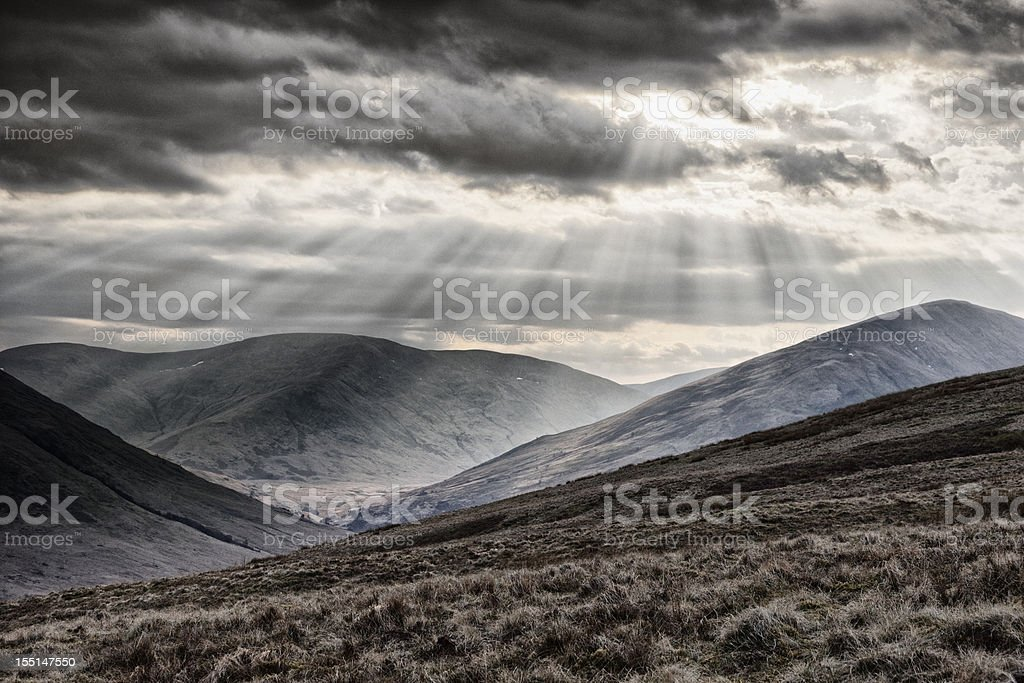Sunbeams Over The Arrochar Alps royalty-free stock photo