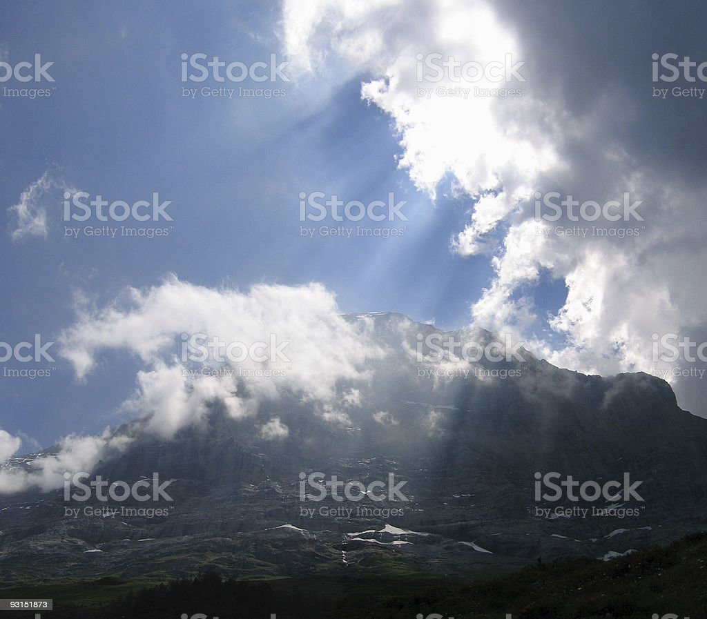 Sunbeams over the Eiger royalty-free stock photo
