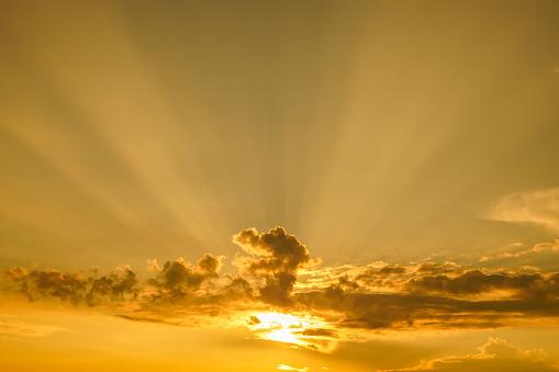 Beautiful sunset and golden sky.
